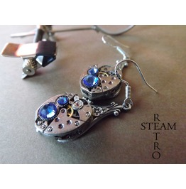 Steampunk Silver Saphire Earrings Steamretro