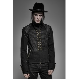 Gothic Military Steampunk Metal Buttons Lace Up Zipper Design Embroidered Jacket
