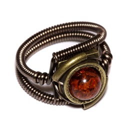 Steampunk Ring Amber Antique Brass
