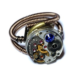 Steampunk Ring Antique Watch Movement Blue Crystal