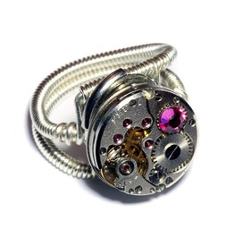 Steampunk Ring Antique Watch Movement Fuchsia Crystal