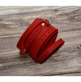 Leather Bracelet Red. Wrap Style