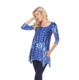 3/4 Sleeve Asymmetric Hem Tunic Top