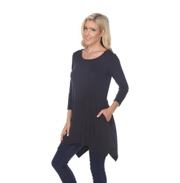 Asymmetric Hem Crew Neck Tunic Top