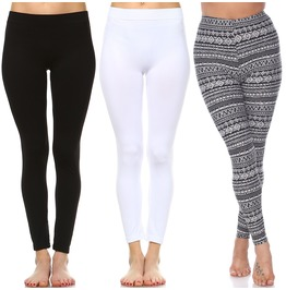 Pack of 3 Solid and Printed Leggings