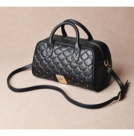 Elegant Rivet Studded Black Shoulder Handbag