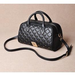 Elegant Rivet Studded Black Shoulder Handbag