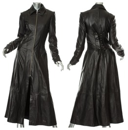 Women Steampunk Leather Coat Gothic Matrix Coat Black Leather Coat