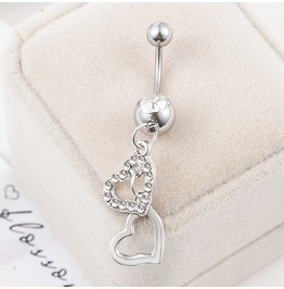 Boho Silver Double Hearts Rhinestone Medical Steel Navel Belly Button Ring
