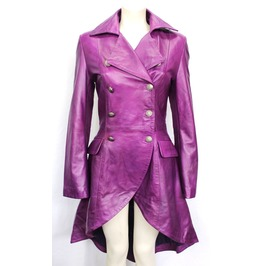 Women Purple Victorian Leather Coat Ladies Gothic Leather Jacket