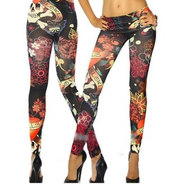 Stretchy Colorful Tattoo Print Leggings