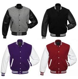 Premium Varsity Jacket Wool Bomber Jacket & Real Leather Sleeves Jacket
