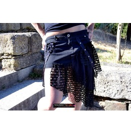 Black Gothic Asymetric Skirt With Net Straps