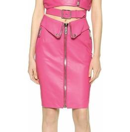 Gougers Women Pink Leather Skirt Punk Kilt Party Skirt