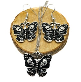 Silver Plated Black Enamel Butterfly Skulls Gothic Punk Necklace & Earrings