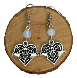 Antique Silver Tone Claddagh Heart With Opal Beads Earrings