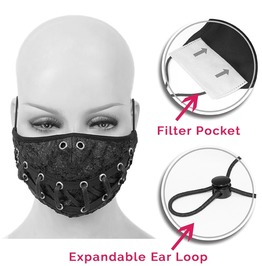 Laced Double Layer Fabric Reusable Face Mask With Disposable Mask Insert