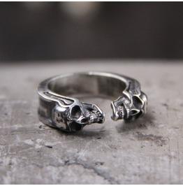 Vintage S925 Sterling Silver Carved Skull Adjustable Ring for and