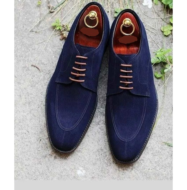 Handmade Men Suede Navy Blue Lace up