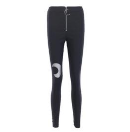 Gothic Streetwear Black High Waist Crescent Moon Zipper Cotton Leggings