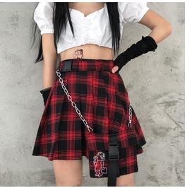 New Knitted Pleated Skirt Plaid Skirt Women