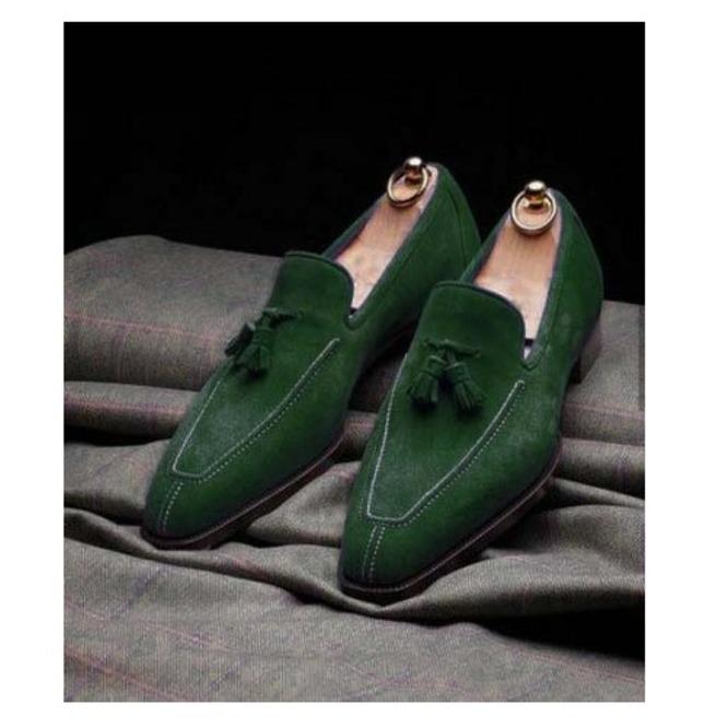 Handmade Men Green Suede Shoes, Dress