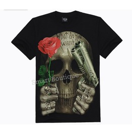 Personalized Punk Skull Rose 3 D Print Men's T Shirt Tee