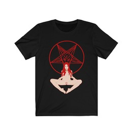 Baphomet Girl T Shirt Satanic Tee Occult Clothing Gothic Shirt