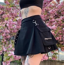 Black High Waist Patchwork Zipper Up Pleated Mini Skirt
