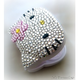 Kawaii Bling Kitty Rhinestone Contact Lenses Case