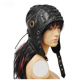 Deluxe Leather Aviator Helmet Flying Hat With Goggles