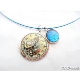 Alice Forest Clock Charm Necklace, Handmade Gift
