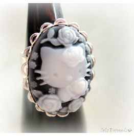 Gothic Kitty Cameo Ring, Teen Girls Gift, Cat Lovers