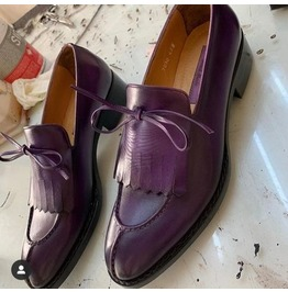 Handmade Men Purple Leather Moccasin Shoes With Fringes, Casual Shoes