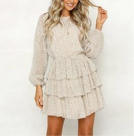 Boho Long Sleeve Dot Print Ruffled Chiffon Mini Dress