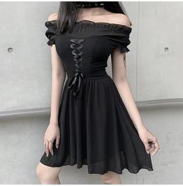 Punk Stitching Lace-up Mesh Dress Lolita Skirt