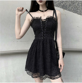 Gothic Lace Dress Open Back Sexy Suspenders Perspective Waist Short Skirt