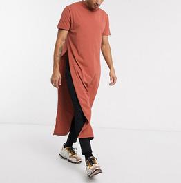 Streetwear Harajuku Short Sleeve O Neck Split Hem Long T-shirt
