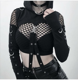 Personality Ripped Diablo Halloween Off-the-shoulder Top Women