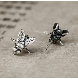 Personality Alternative Punk 925 Sterling Silver Flies Insect Earrings