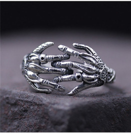 Hip-hop Punk Rock Style S 925 Ghost Hand Domineering Ring for Men and Women