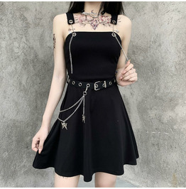 Dark Chain-wrapped Breast Dress Butterfly Metal Accessories Belt Hem Skirt