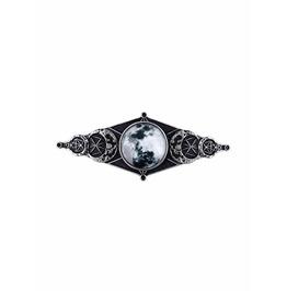 Tiberio Dark Side Moon Phases Occult Silver Hair Accessory Slide Barrette