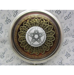 Compact Mirror Pentagram Brown Comes Protective Pouch