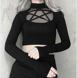 Punk High Neck Stitching Finger Long Sleeve Bottoming Mesh Women's Clothing