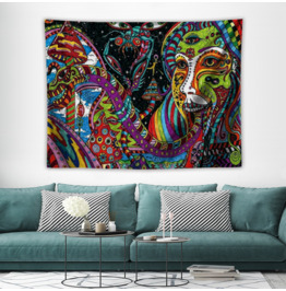 Wall Tapestry Psychedelic Lady and Snake in 2 Sizes