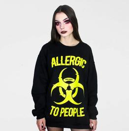 'Allergic To People' Oversize Crew Neck Sweatshirt
