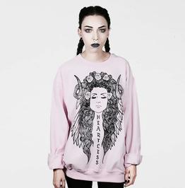 'Heartless' Round Neck Long Sleeve Loose Sweatshirt
