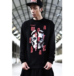 Crashed Skull Head Print Men Punk Hoodie