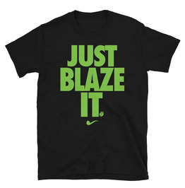 Just Blaze It Print O-Neck Short Sleeve Black Cotton T-shirt
